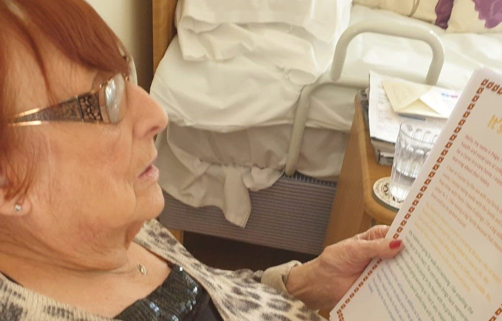 Residents at Laurel Lodge with wellbeing packs