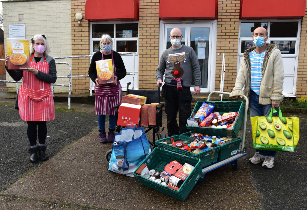 Volunteers from the Great Yarmouth Foodbank with the donation of food from East Coast College. Photo East Coast College.