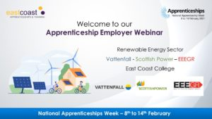 Renewable energy sector webinar with Vattenfall, Scottish Power and EEGR.