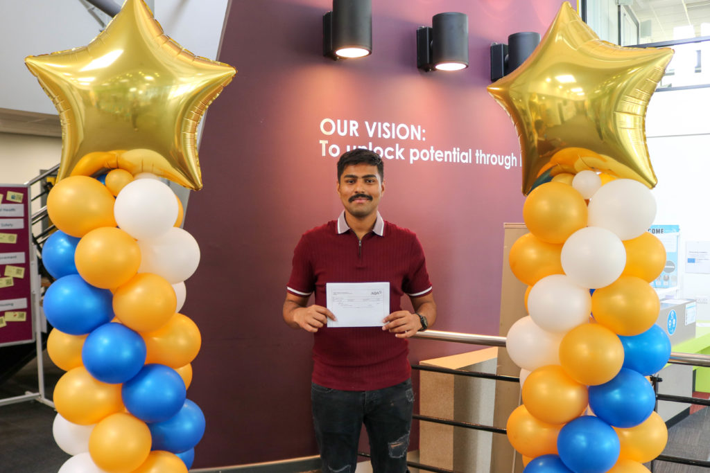 East Coast College student Majid who achieved a grade 5 in GCSE English and maths. Photo East Coast College.
